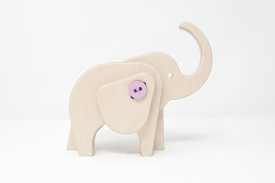 Children's educational wooden elephant puzzle activity toy