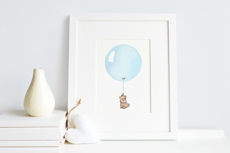 Pastel Blue Round Balloon Print for Baby Boy Gift