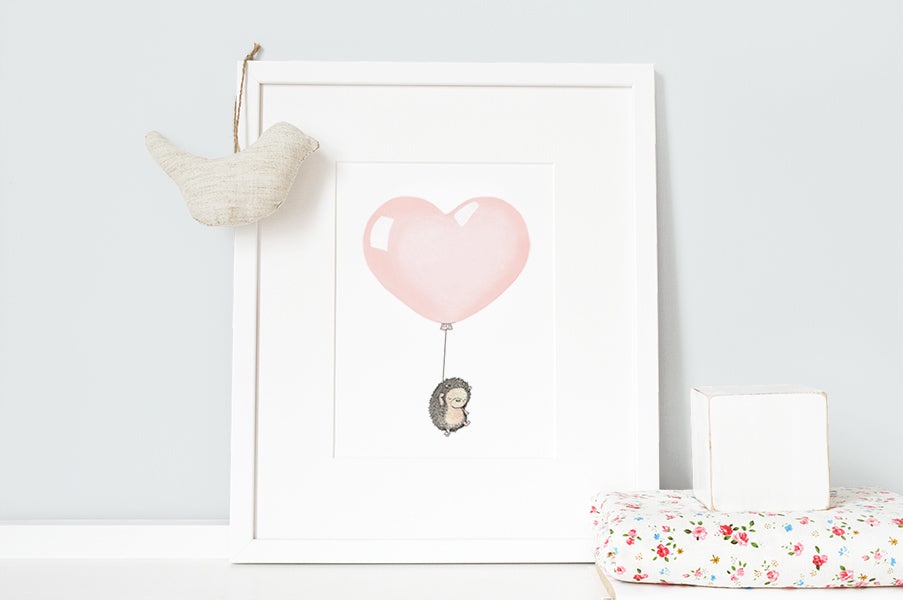 Baby Girl Peach Heart Balloon Print