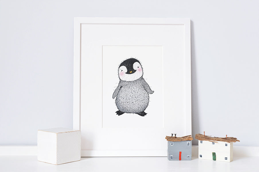 Newborn Baby Penguin Nursery Wall Print