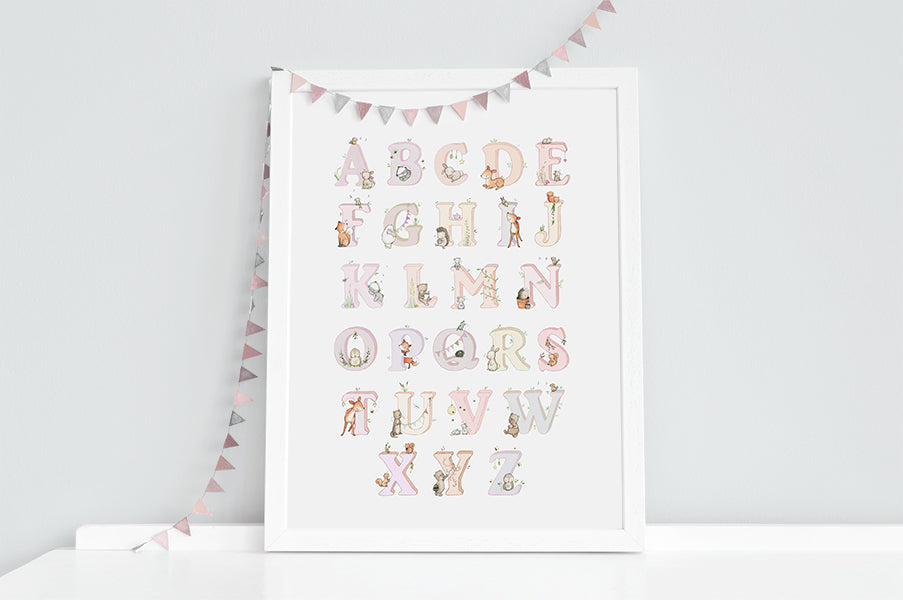 Girl's Pink Woodland Alphabet Nursery Print