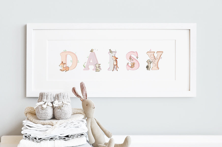 Girl's Personalised Framed Pink Woodland Name Picture