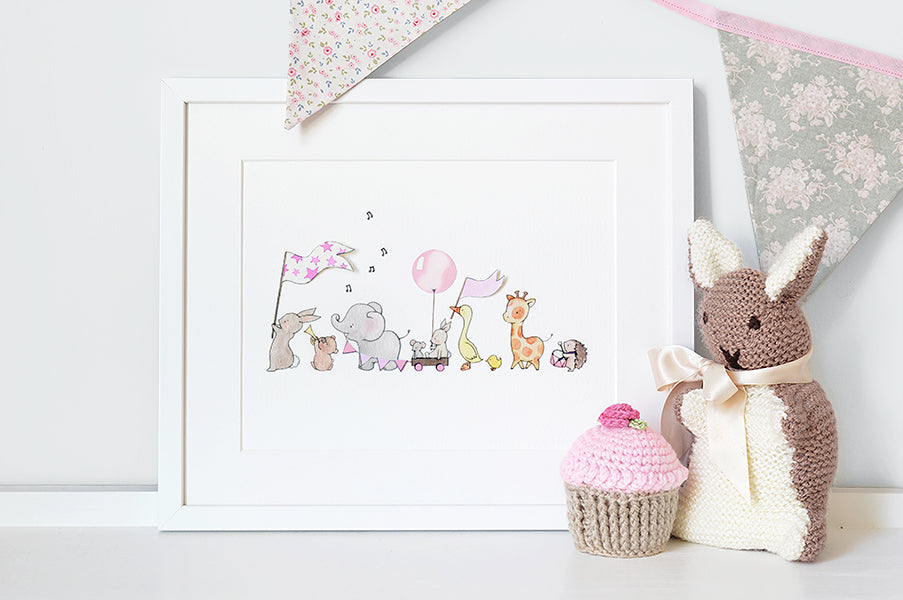 Girl's Pink Personalised Animals On Parade Picture