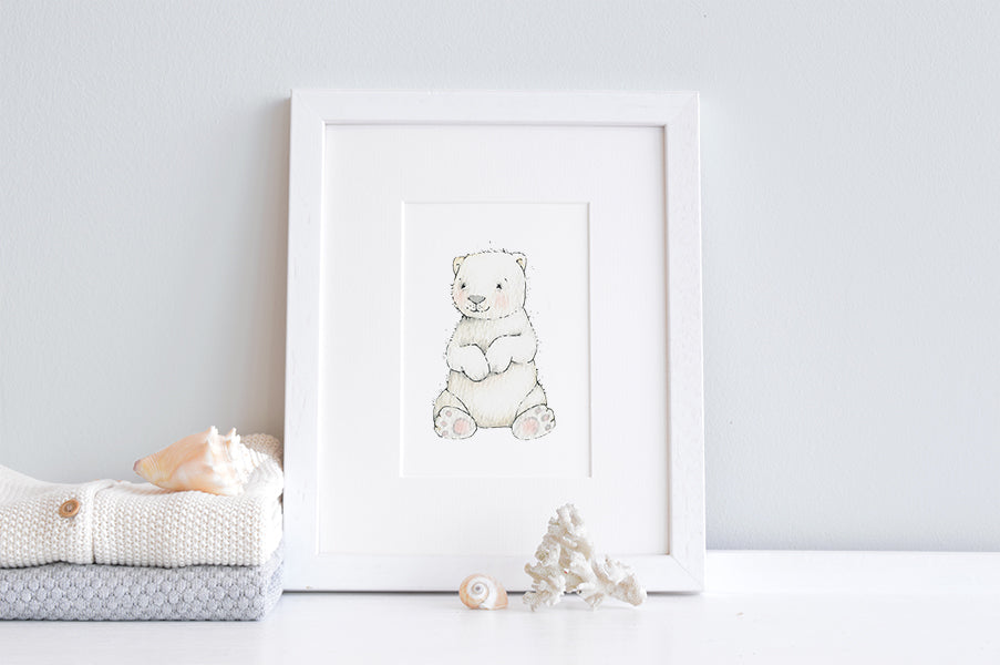 Newborn Baby Polar Bear Nursery Wall Art Print