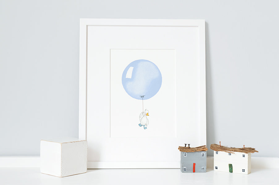 Powder blue balloon picture for baby boy's room