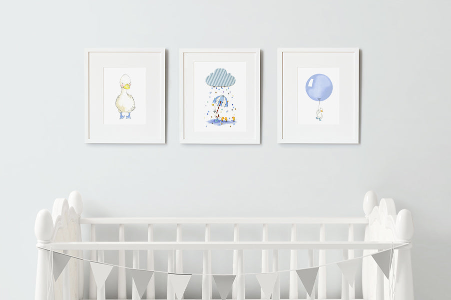 Baby Boy Puddle Duck Nursery Decor Print Set