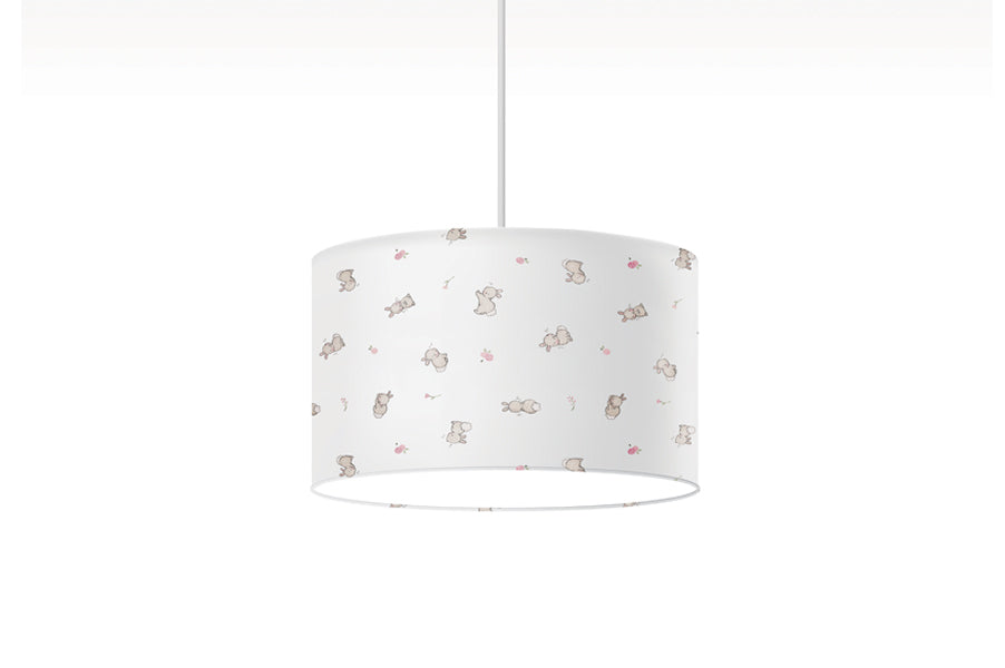 Girl's Rabbits and Roses Nursery Lampshade
