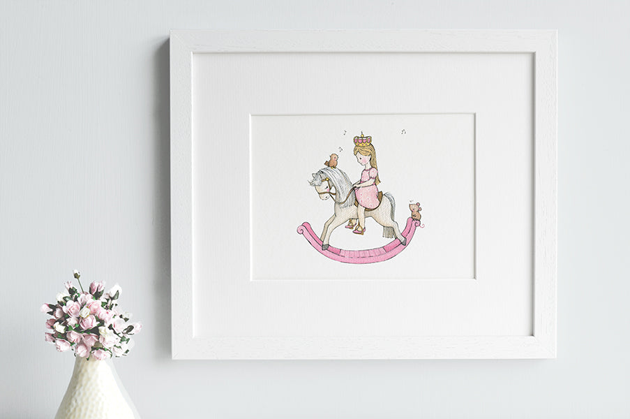 Girl's Personalised Rocking Horse Princess Picture