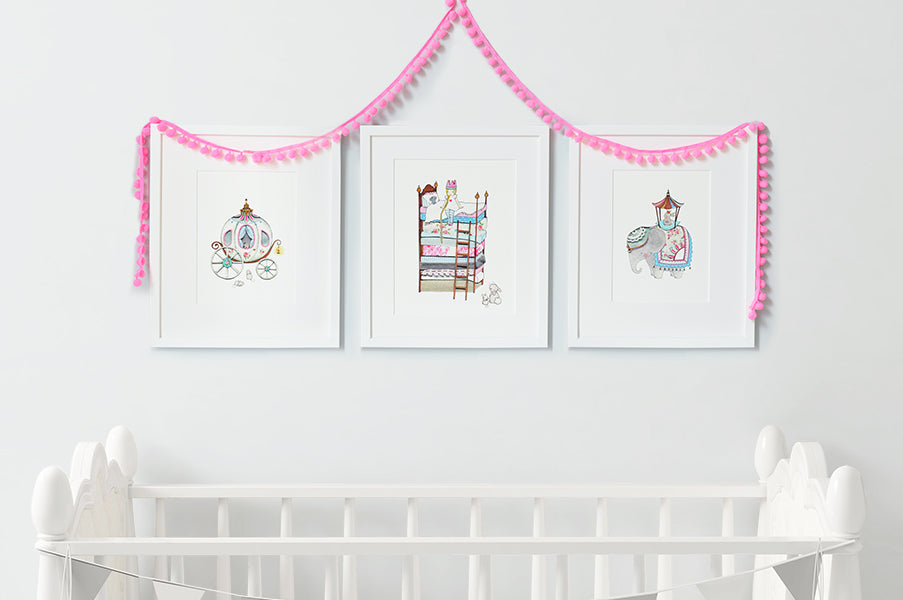 Girl's Royal Princess Bedroom Wall Art Set