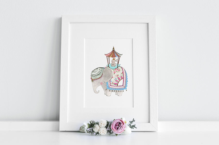 Girl's Royal Rabbit on Elephant Nursery Picture