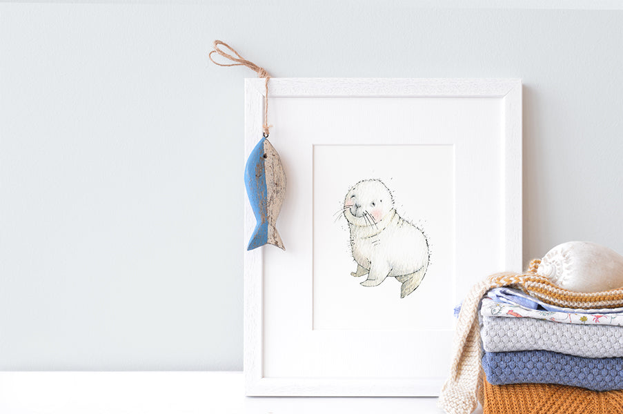 Newborn Baby Seal Nautical Nursery Picture