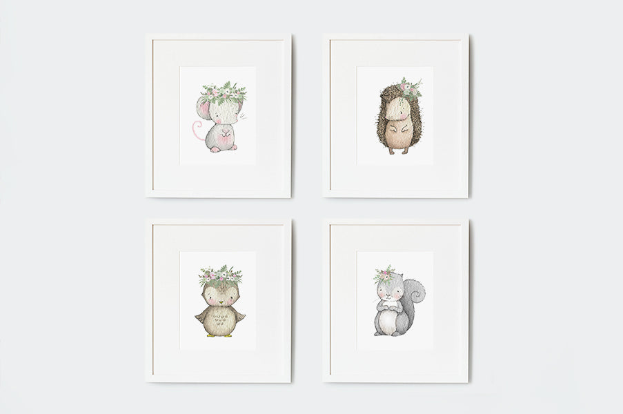 Girl's Garden Babies Nursery Artwork Set
