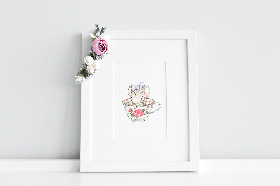 Girl's Personalised Tea Cup Mouse Print
