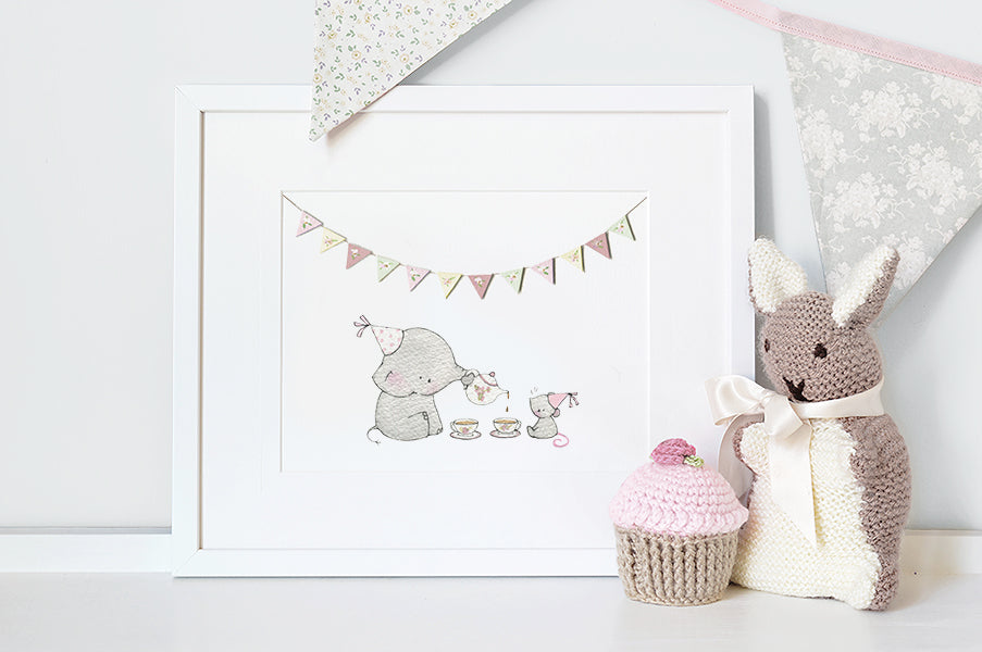 Girl's Elephant and Mouse Tea Party Picture