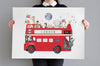 Children's Personalised Big Red London Bus Picture