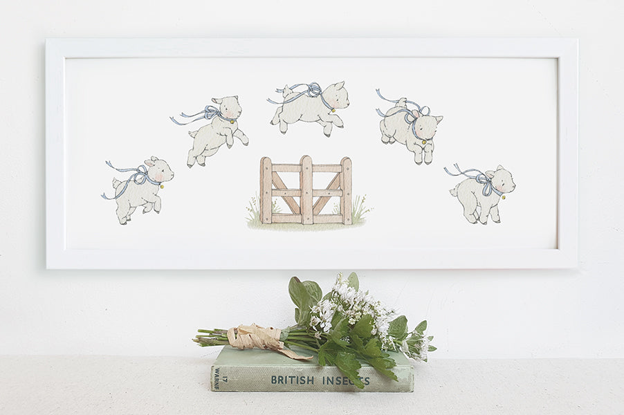 Framed Children's Traditional Counting Sheep Nursery Picture