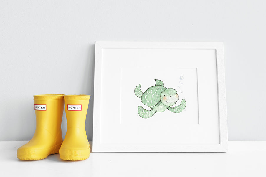 Newborn Baby Turtle Nursery Wall Art Print