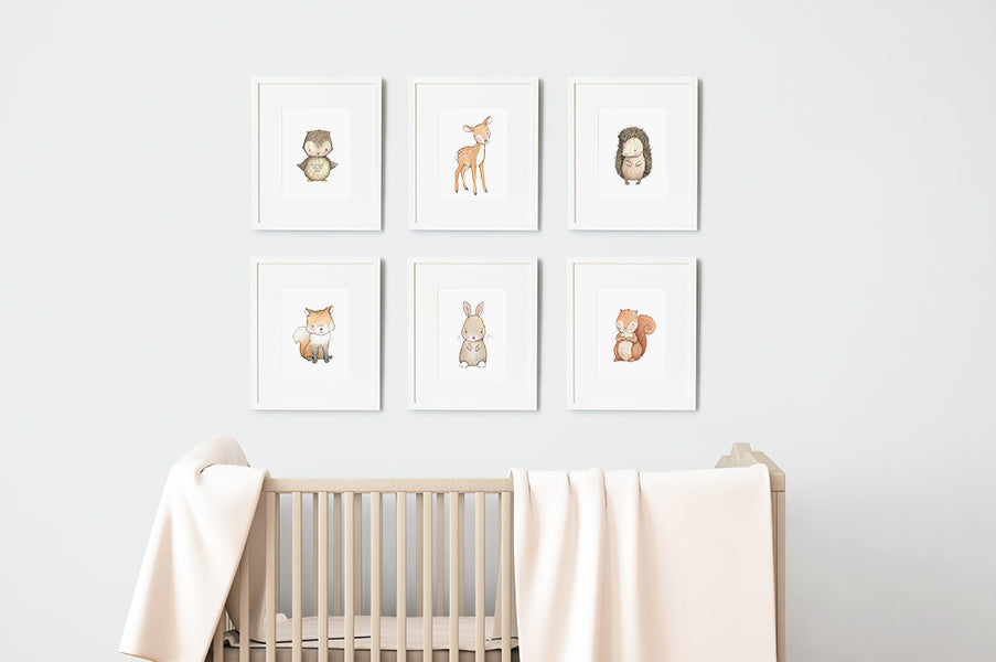 Woodland Baby Animals Nursery Wall Art Print Set
