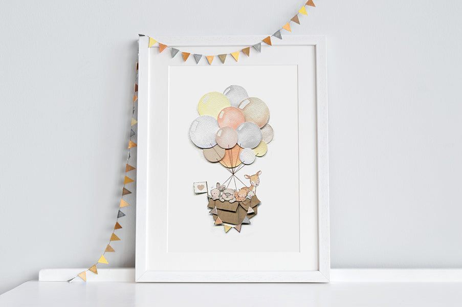 Woodland Balloon Journey Neutral Nursery Art Print