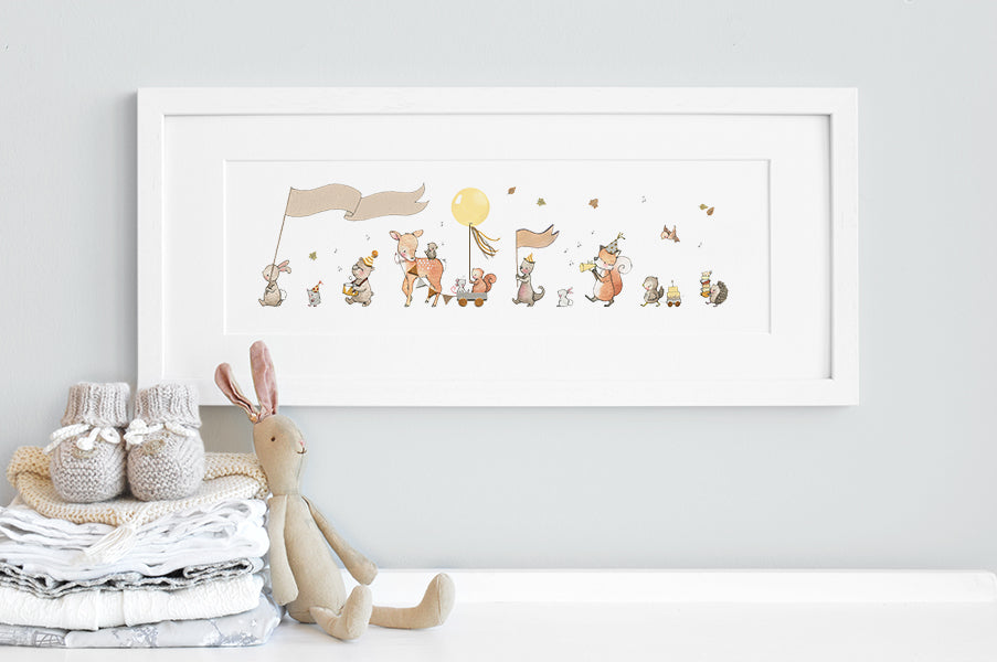 Children's Personalised Woodland Animal Parade Framed Picture