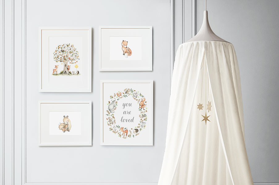 A Woodland Tale Baby's Nursery Art Print Set