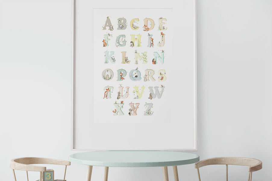 Kid's Big Neutral Woodland Alphabet Print Poster
