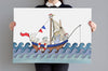 Big Boat at Sea Picture for Boy's Nautical Bedroom
