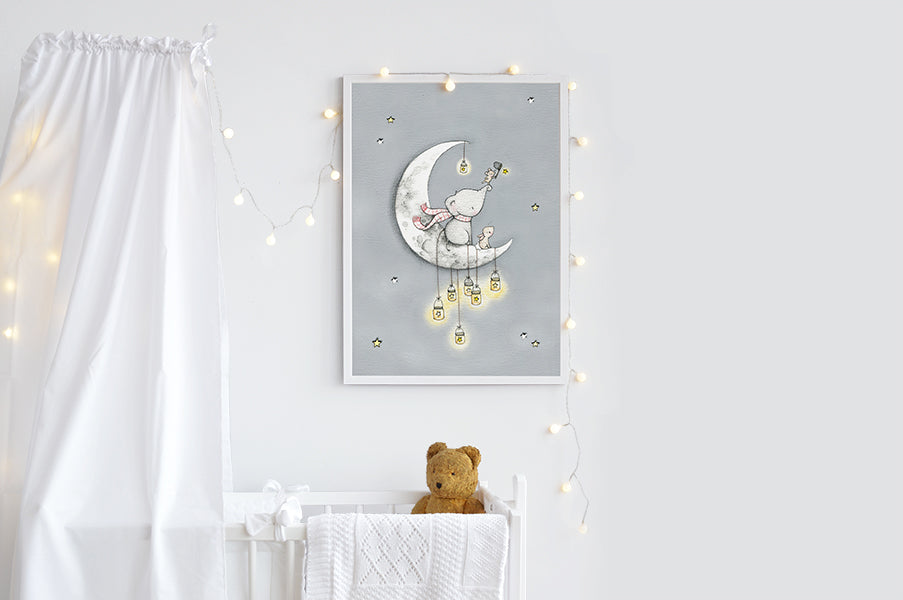 Big Catching Stars Moon picture for baby's nursery