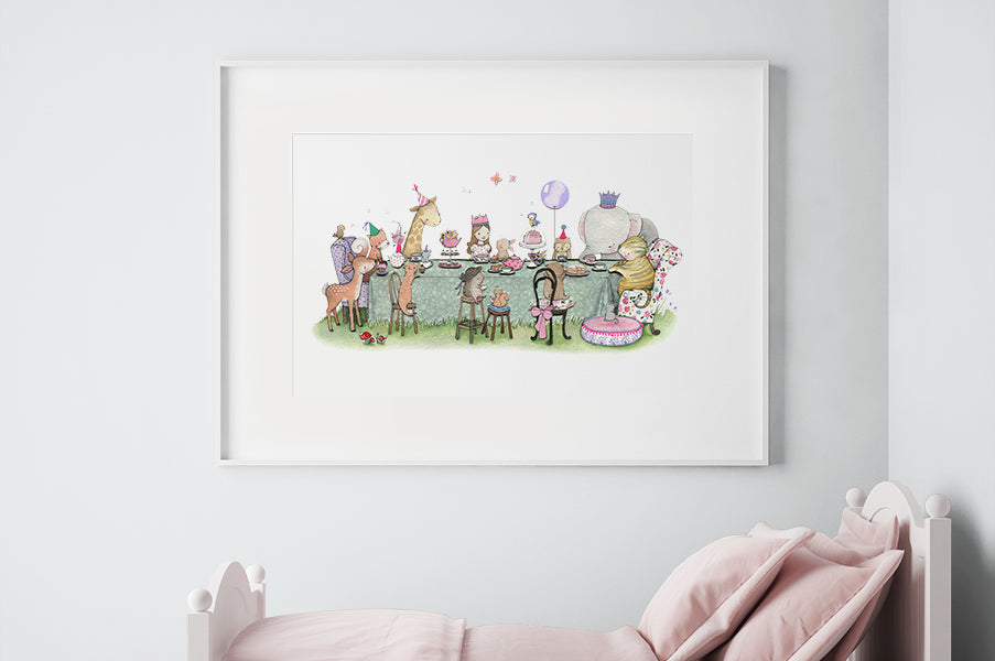 Girl's Big Enchanted Tea Party Bedroom Picture
