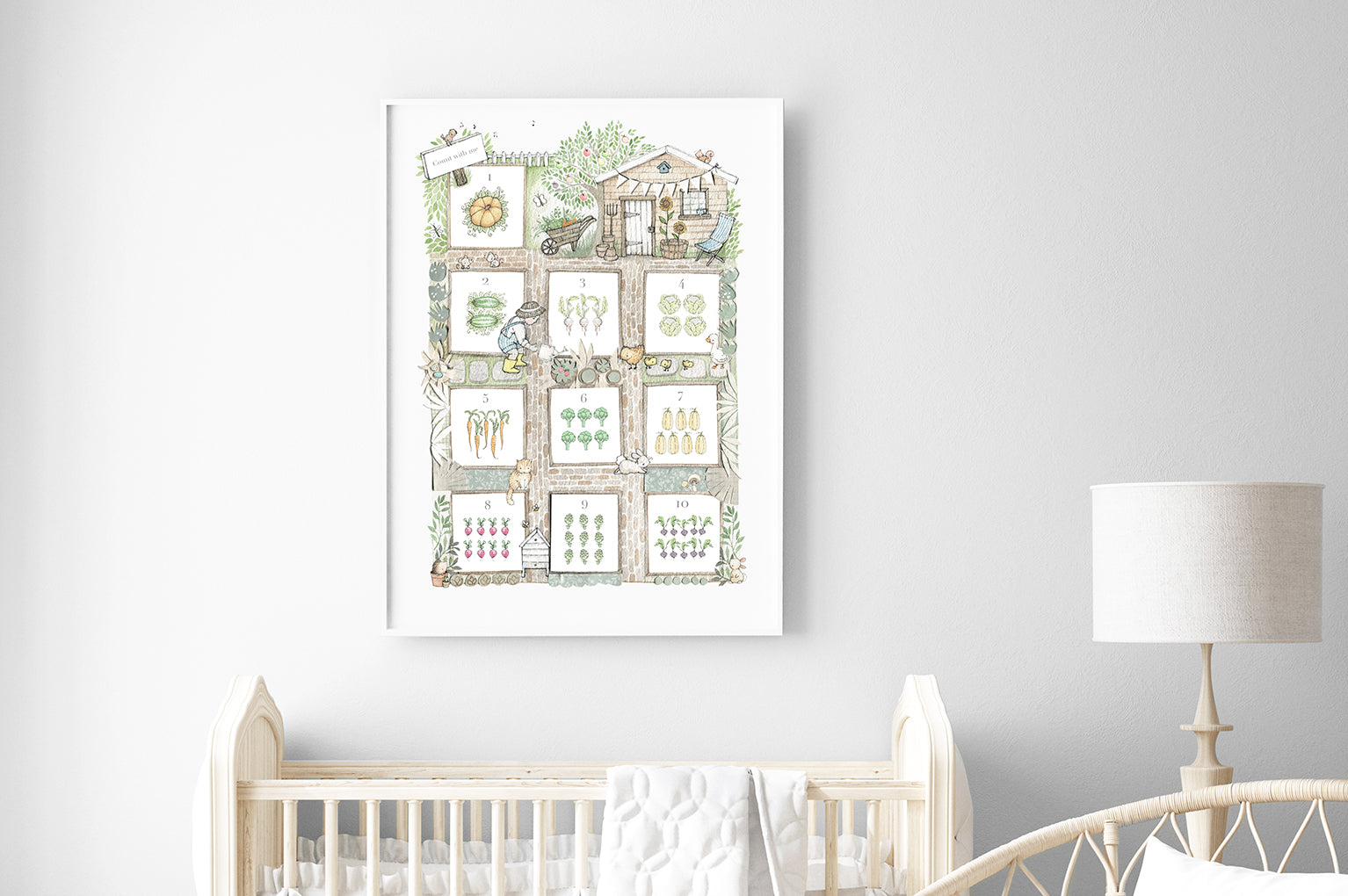 Kid's big allotment gardening Counting Poster Print