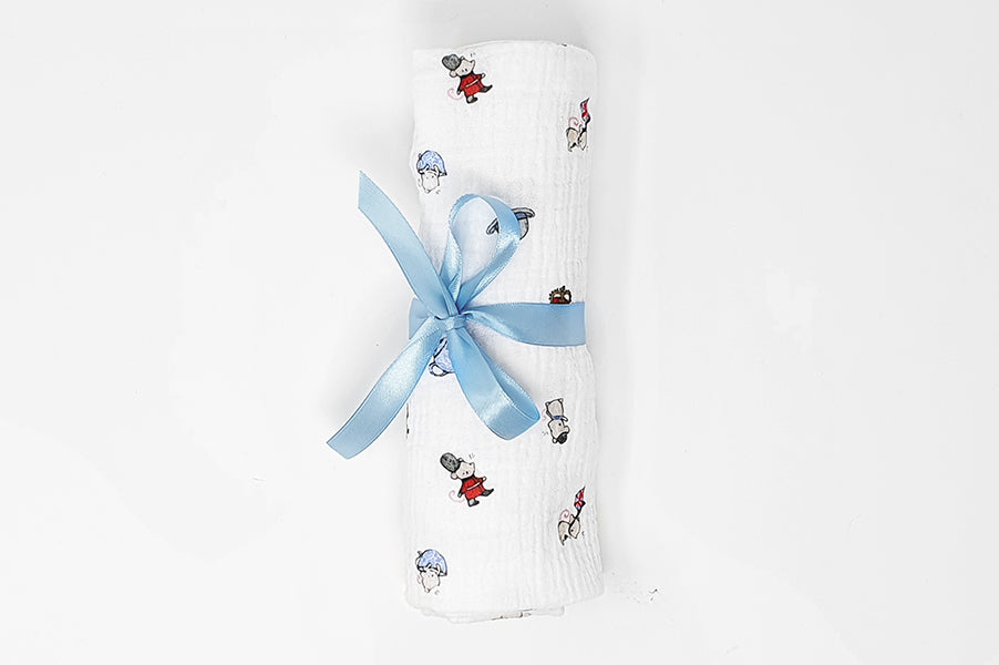 London Mice 100% cotton baby muslin cloth square