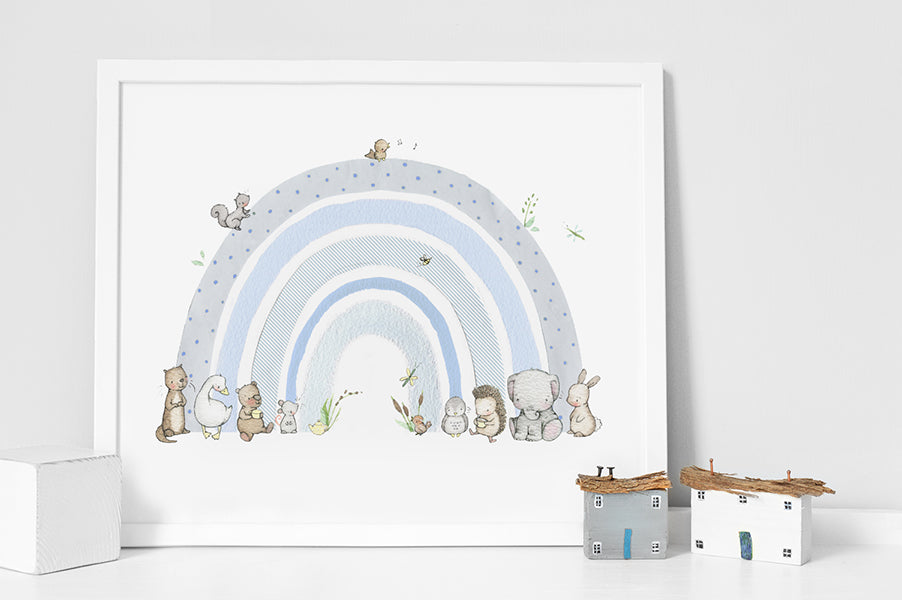 Boy's personalisable pastel blue rainbow picture