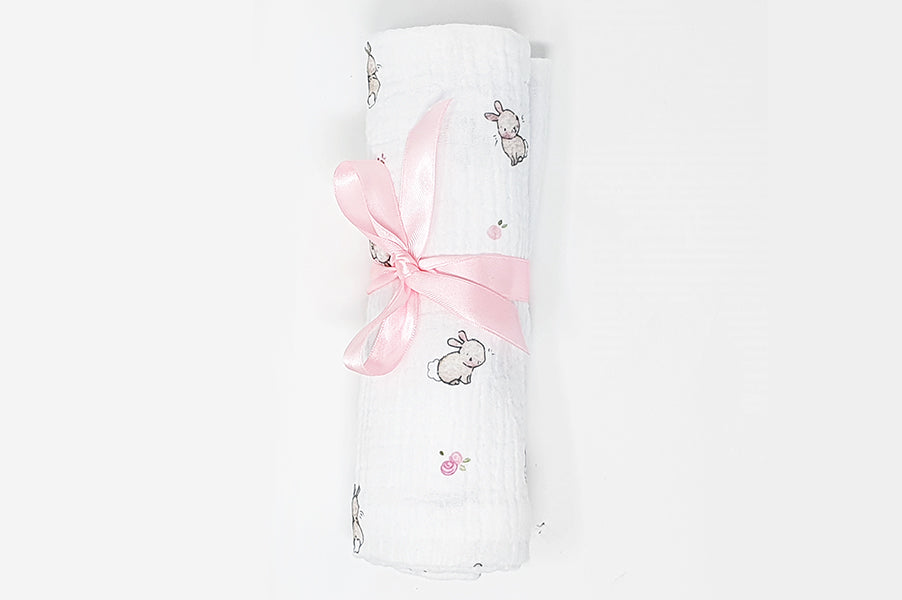 Roses & rabbits 100% soft cotton baby bunny muslin square cloth