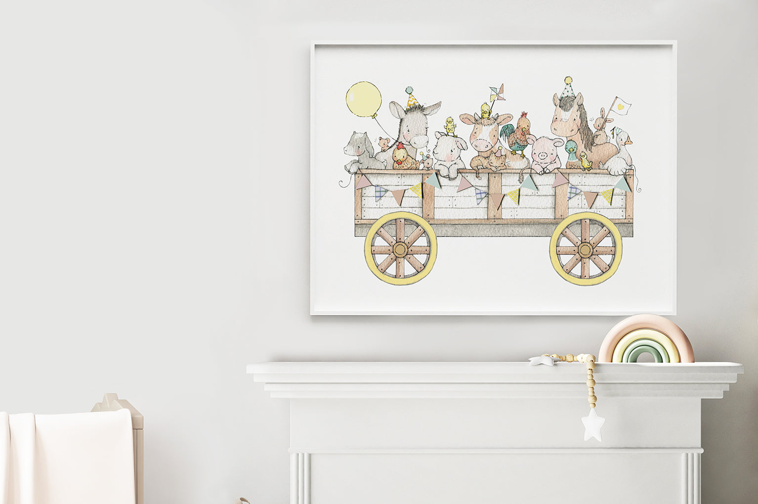 Kid's big farm animal cart poster print
