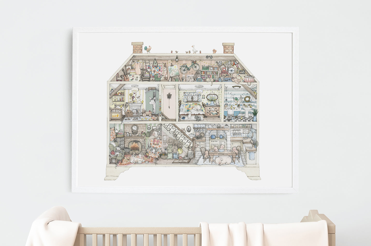 Children's Illustrated Farm House Fine Art Wall Print