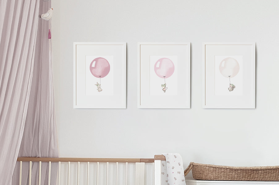 Floral Garden Balloon Set of Nursery Prints