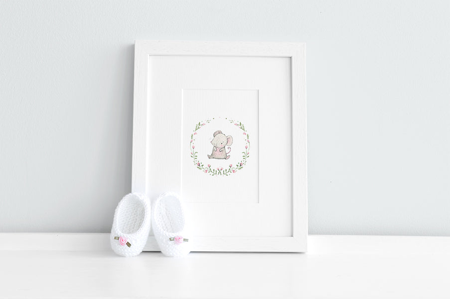 Girl's Floral Woodland Mouse Print