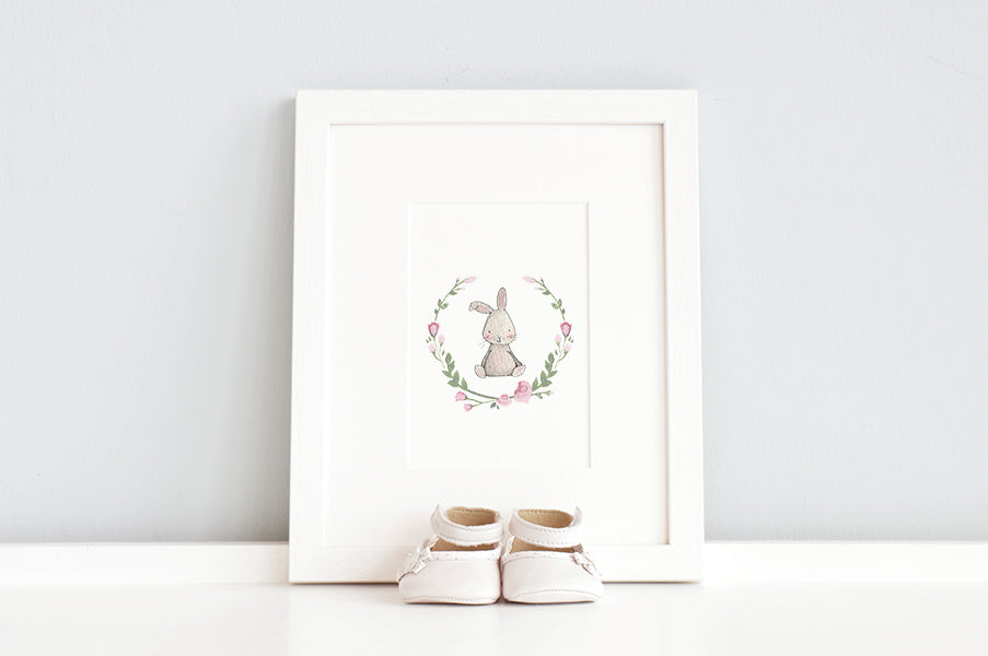Girl's Floral Rabbit Nursery Wall Art Print