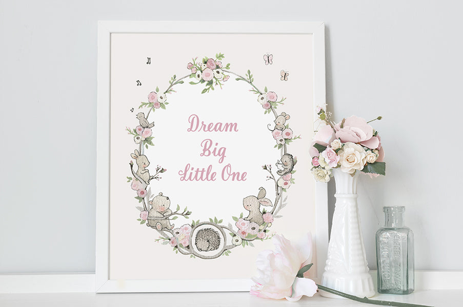 Girl's Floral Garden Wreath Quote Nursery Art