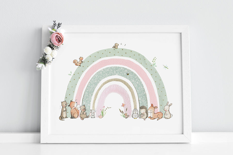 Girl's Personalised Pink and Mint floral Woodland Rainbow Picture
