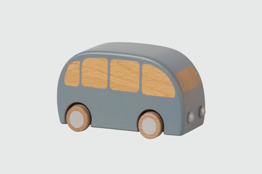Maileg Blue Wooden Bus pull and go toy