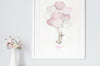 Girl's Pink Heart Balloon Bunch Wall Picture