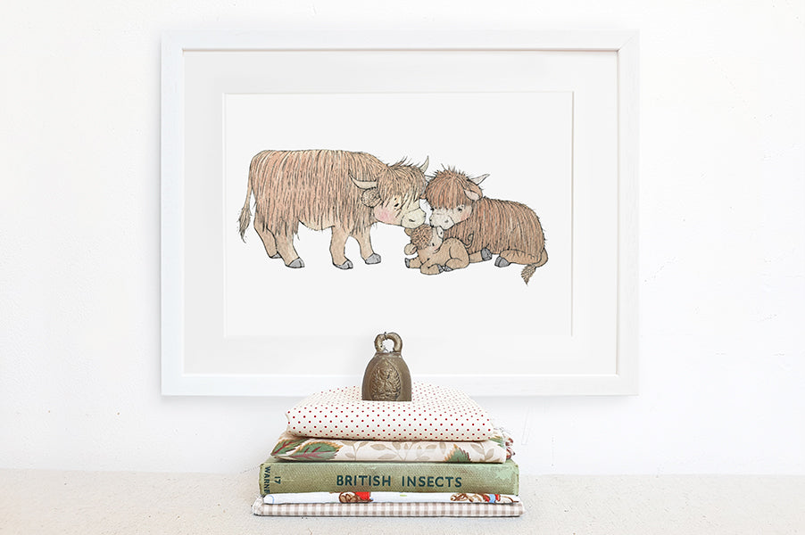 Children's Illustrated Highland Cow Family Picture