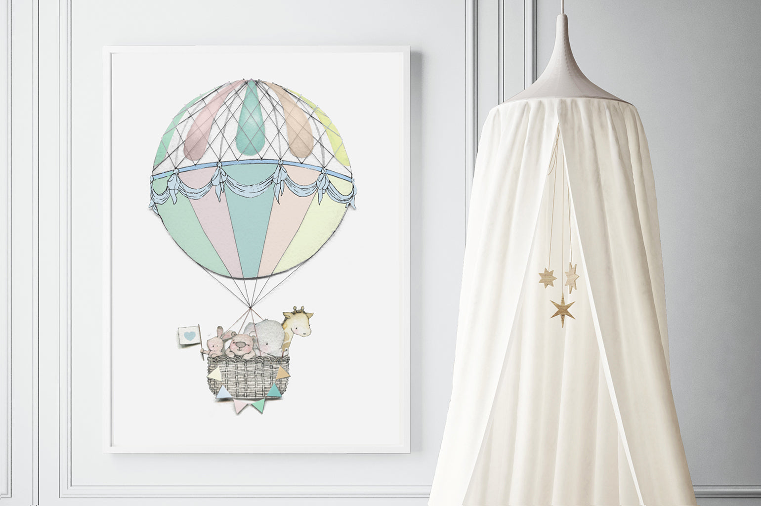 Big Hot Air Balloon Journey Print for Kid's Bedroom
