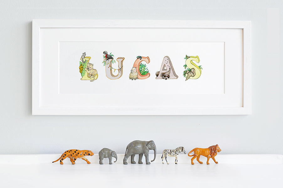 Kid's Personalised Bright Jungle Name Framed Print