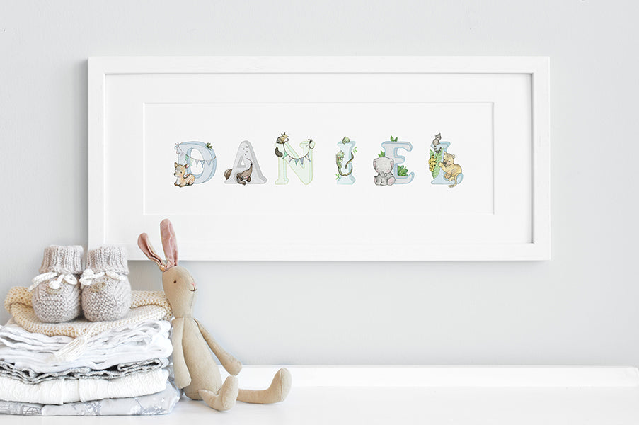 Boy's Personalised Blue Jungle Animal Name Print