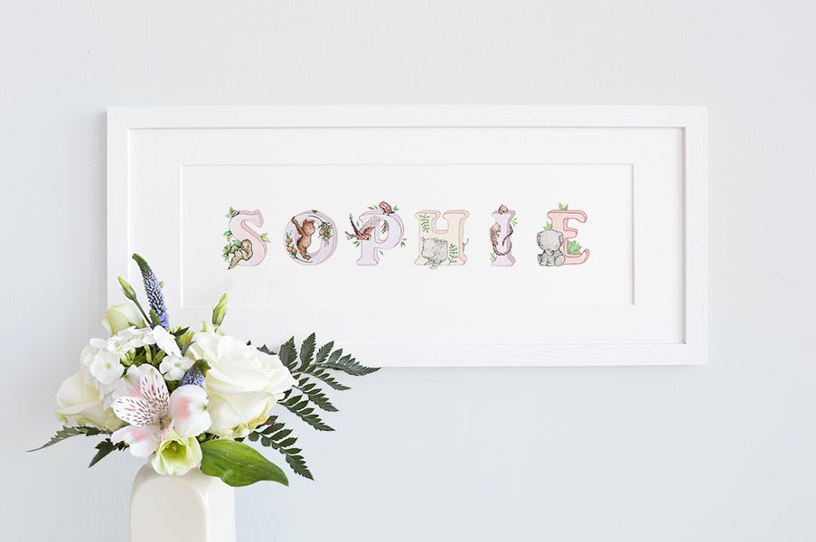 Personalised Framed Pink Jungle Girl's Name Art