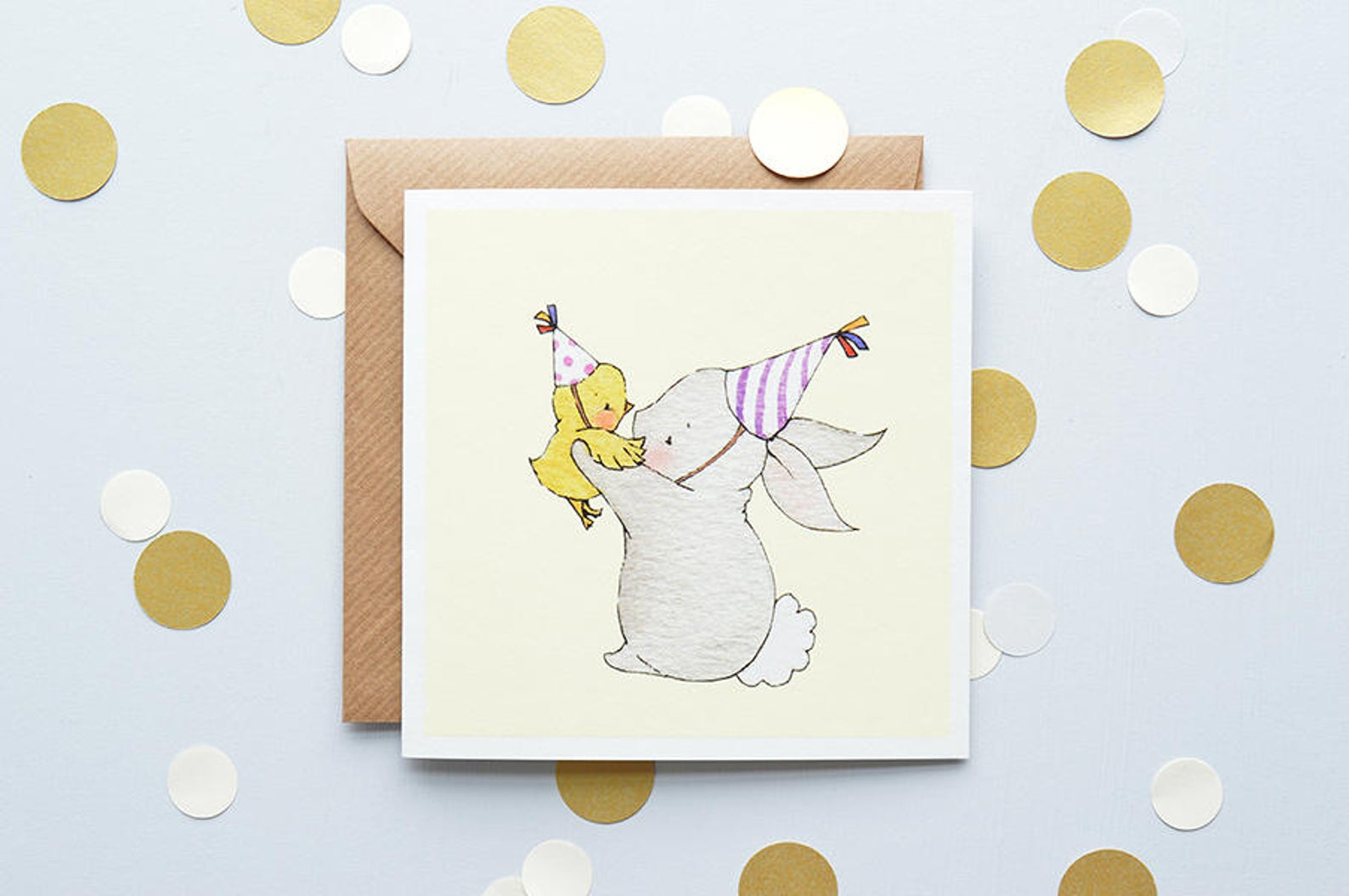 Children's Easter Bunny and Chick Greetings Card