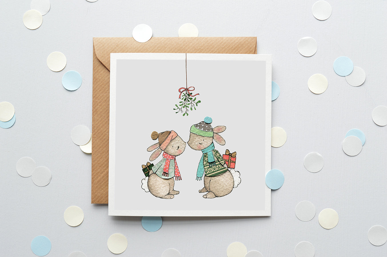 Children's Mistletoe Kisses Christmas Card