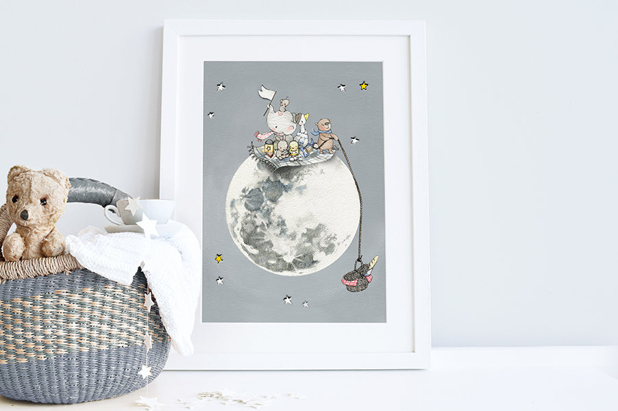 Children's Personalised Picnic on the Moon Picture